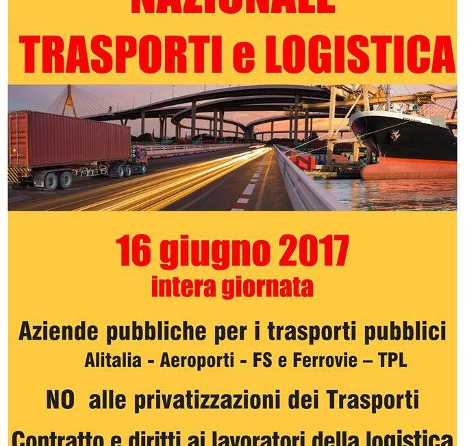 16 giugno, sciopero nazionale di 24 ore di trasporti e logistica!