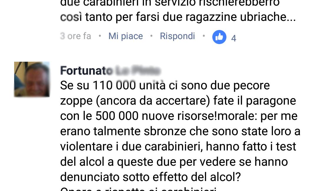 """""""Sono loro ad aver violentato i carabinieri"""", i terribili commenti sessisti sul web sulle due ragazze stuprate a Firenze"""