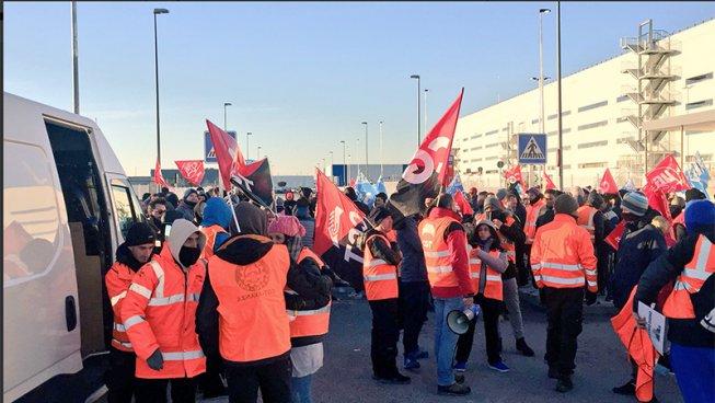 Grande sciopero in Amazon a Madrid: 98% di adesione e presenza internazionale ai picchetti