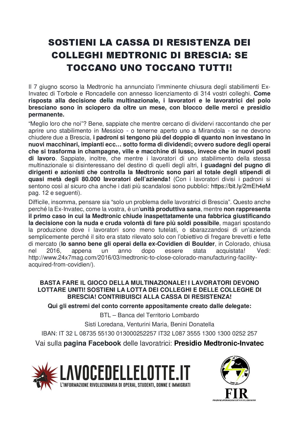 Medtronic di Mirandola: sostenere la lotta degli stabilimenti bresciani!