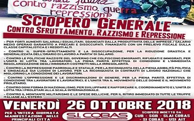 Mercoledì 10 Ottobre giornata di lotta – in preparazione allo sciopero e alla manifestazione contro il governo del 26-27