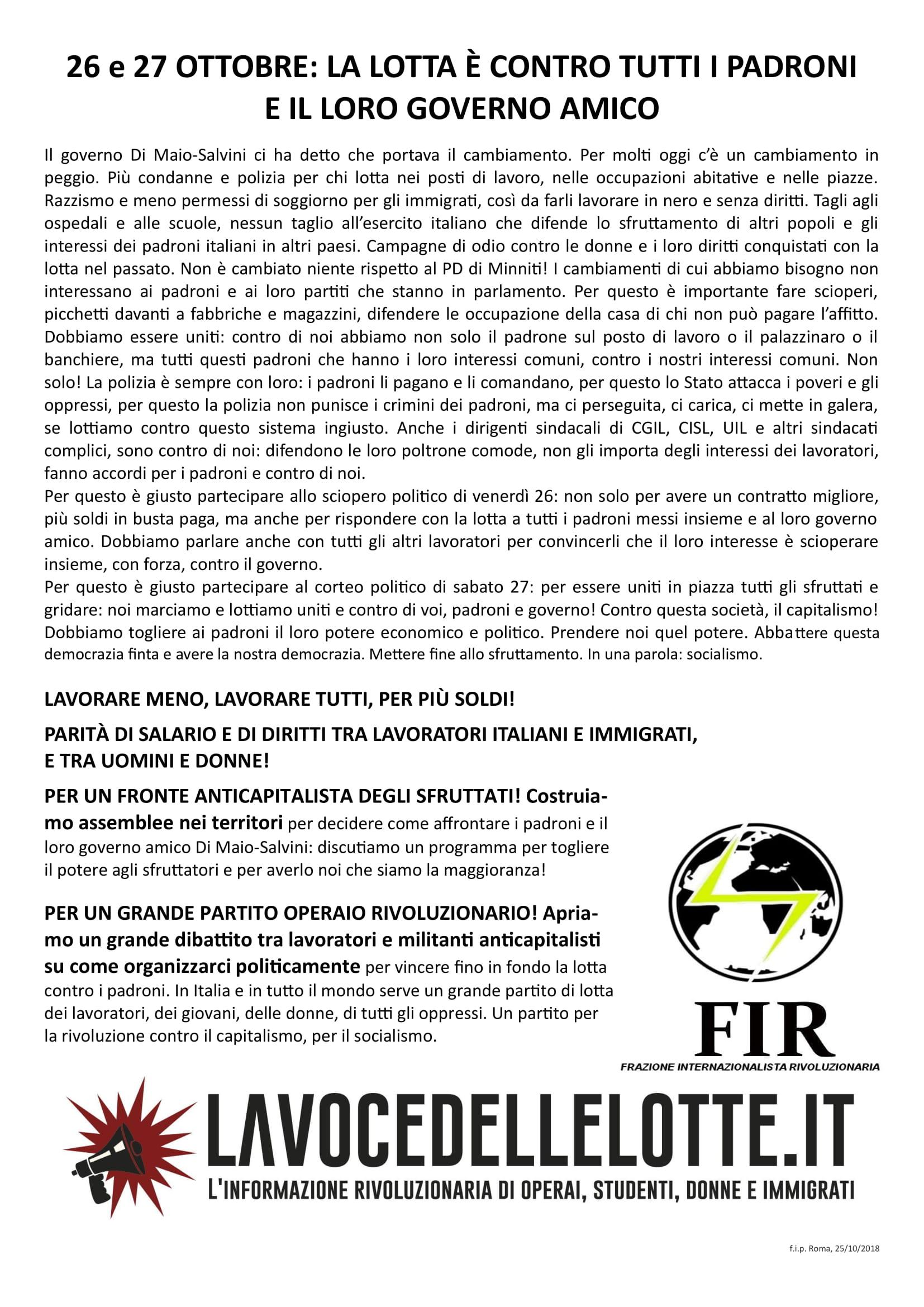 26 e 27 ottobre: la lotta è contro tutti i padroni e il loro governo amico
