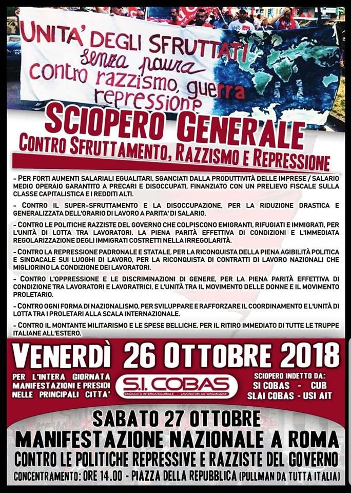 #26O Sciopero generale: mobilitazioni in tutta Italia