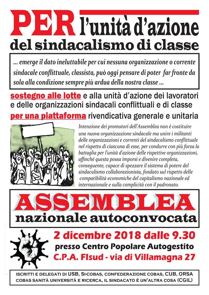 Appello - Per una assemblea nazionale autoconvocata del sindacalismo di classe
