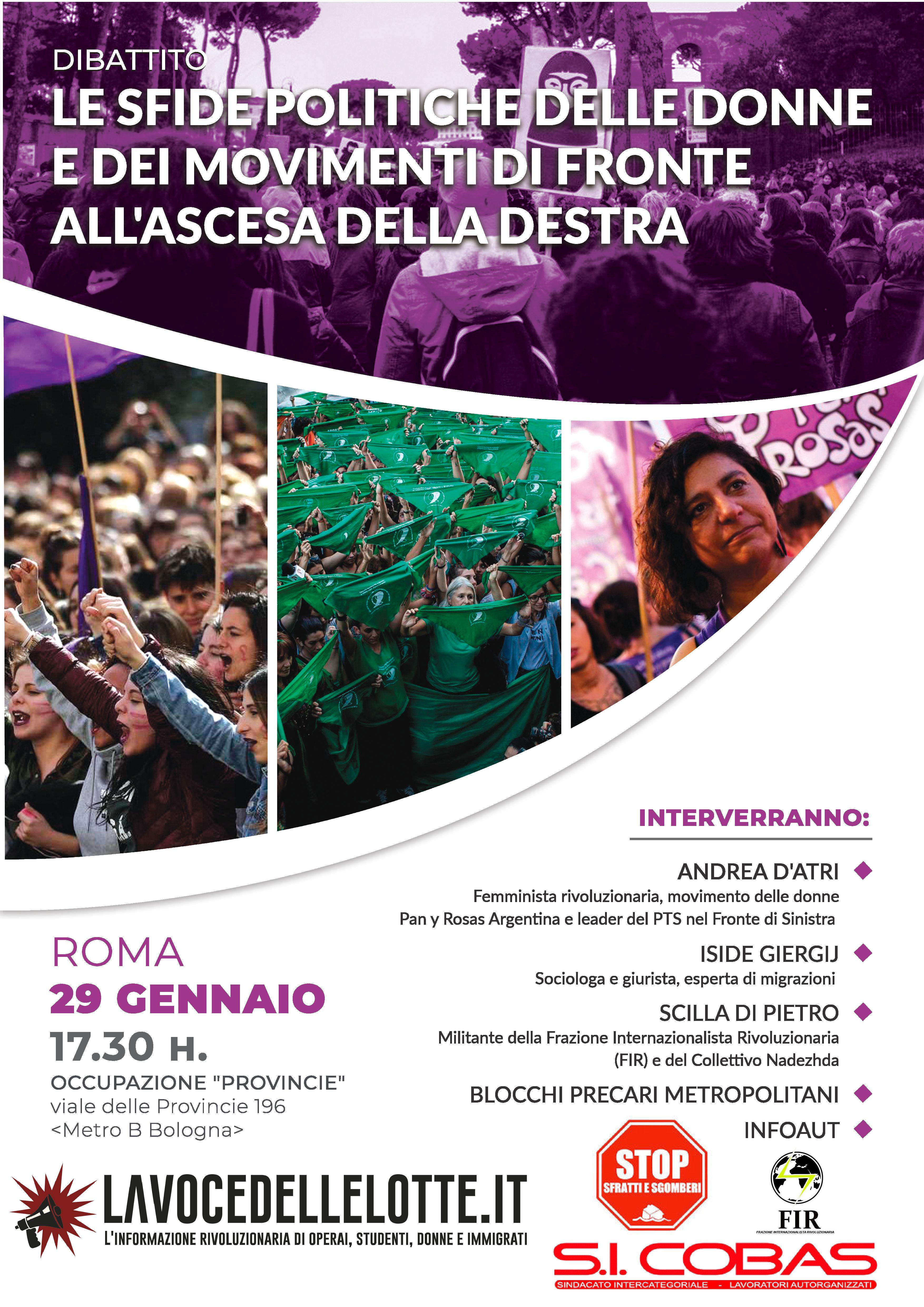 Le sfide politiche delle donne e dei movimenti di fronte all'ascesa della destra: dibattito a Roma con Andrea D'Atri