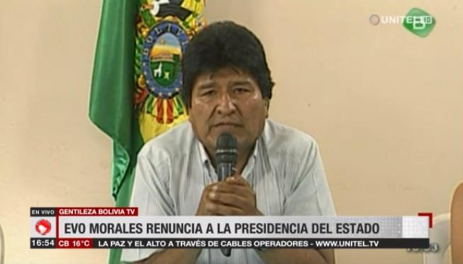 Dopo il colpo di Stato, Evo Morales si dimette dalla carica di presidente