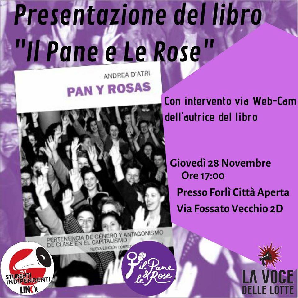"""A Forlì, presentazione di """"Il pane e le rose"""" con Andrea D'Atri in collegamento video"""