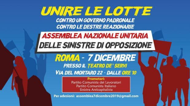 Domani a Roma, assemblea delle sinistre d'opposizione: ci saremo!
