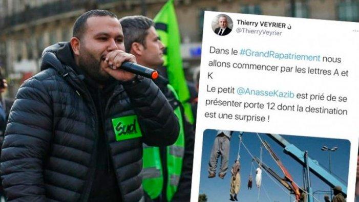 Anasse Kazib, ferroviere e militante dell'NPA e di Révolution Permanente, minacciato di morte da un leader dell'estrema destra