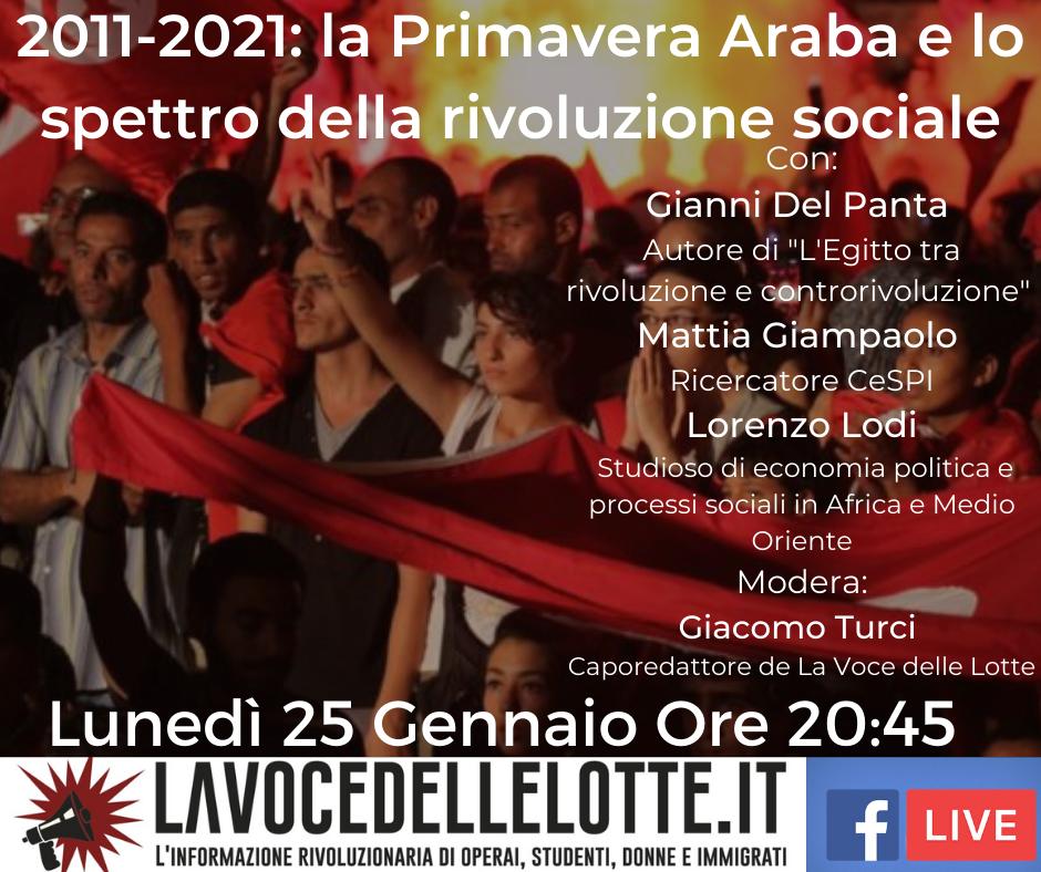 La Primavera Araba dieci anni dopo: lunedì 25 dibattito online!