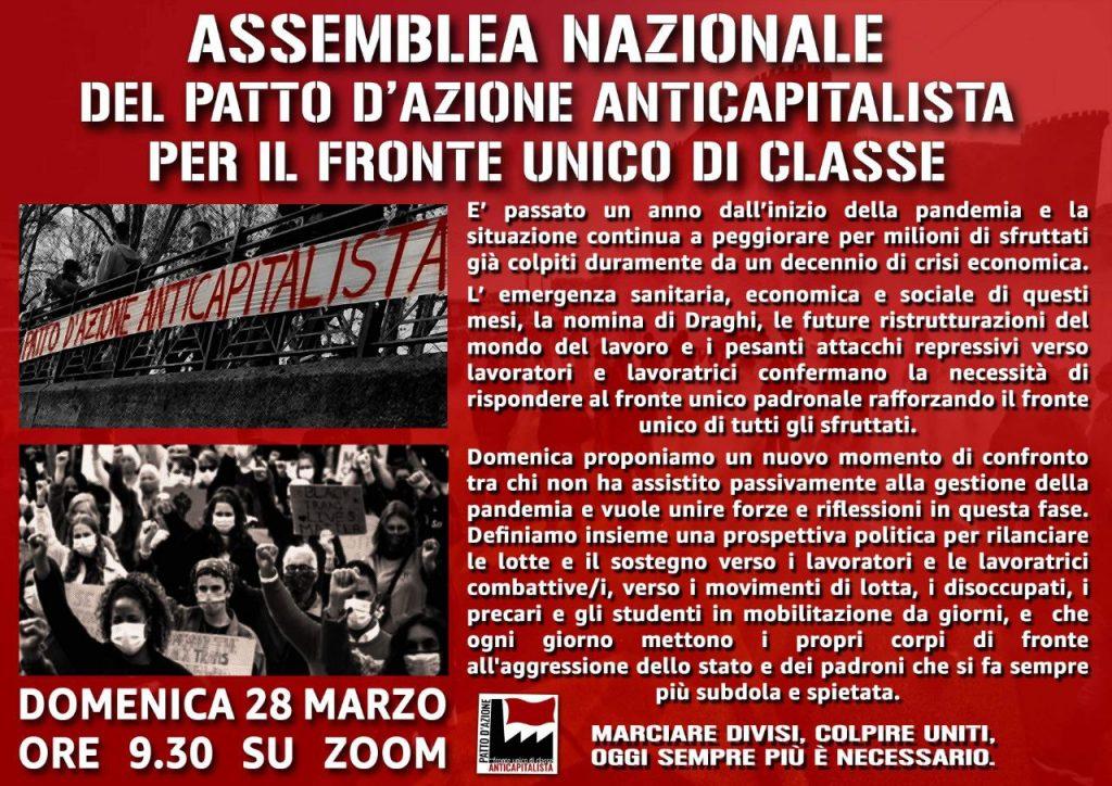 Domani assemblea aperta del Patto d'azione anticapitalista su zoom