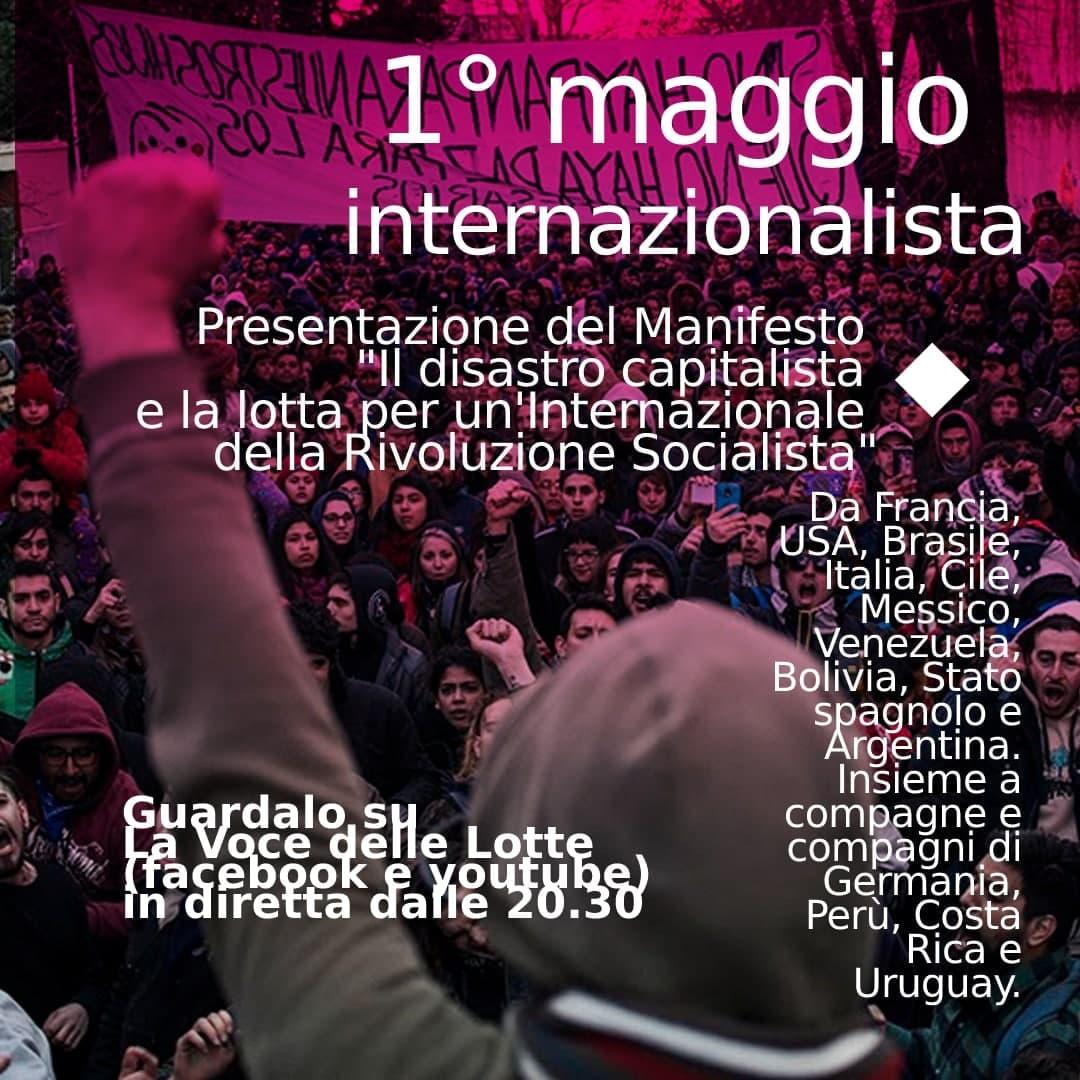 1 maggio: alle 20.30 atto-video di presentazione del Manifesto per un'Internazionale della Rivoluzione Socialista